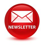 Newsletter glassy red round button Royalty Free Stock Photo