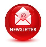 Newsletter glassy red round button Royalty Free Stock Photography