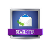 Newsletter glossy blue icon illustration Royalty Free Stock Images