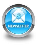 Newsletter glossy cyan blue round button. Newsletter isolated on glossy cyan blue round button abstract illustration Stock Photos