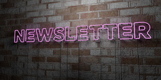 NEWSLETTER - Glowing Neon Sign on stonework wall - 3D rendered royalty free stock illustration Royalty Free Stock Photography