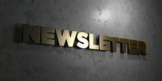 Newsletter - Gold text on black background - 3D rendered royalty free stock picture Stock Image