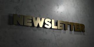 Newsletter - Goldtext auf schwarzem Hintergrund - 3D übertrug freies Bild der Abgabe auf Lager Stockbild