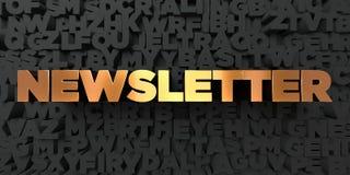 Newsletter - Goldtext auf schwarzem Hintergrund - 3D übertrug freies Bild der Abgabe auf Lager Stockfotos
