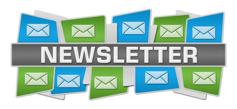 Newsletter Green Blue Squares Top Bottom Royalty Free Stock Photos