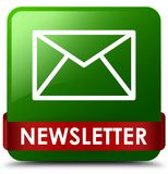 Newsletter green square button red ribbon in middle. Newsletter isolated on green square button with red ribbon in middle abstract illustration Royalty Free Stock Photo