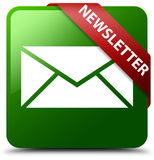 Newsletter green square button. Reflecting shadow with red ribbon in corner Royalty Free Stock Images