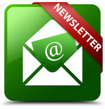 Newsletter green square button Royalty Free Stock Images