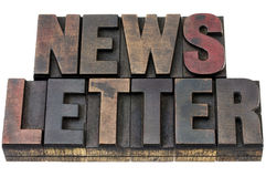 Newsletter in grunge wood type Royalty Free Stock Image