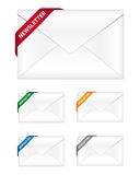 Newsletter icons. With corner ribbon in four different colors Stock Photo