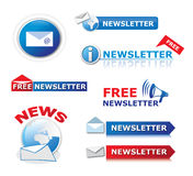 Newsletter icons. A variety of stylish newsletter icons and buttons for website designs Stock Photo