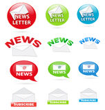 Newsletter icons. Collection of various newsletter website icons in different colors Stock Photo