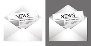 Newsletter Icons. Two newsletter icons - on a white and on a dark background. (There are differences in shading depending on the background Stock Image
