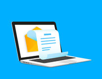 Newsletter. Illustration with laptop isolated on blue Stock Photos