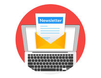 Newsletter. Illustration with laptop isolated round red icon Stock Photos