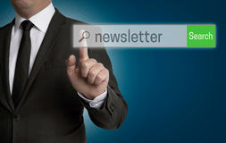 Newsletter internet browser is operated by businessman Royalty Free Stock Images