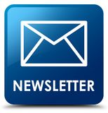 Newsletter blue square button. Newsletter isolated on blue square button abstract illustration Royalty Free Stock Image