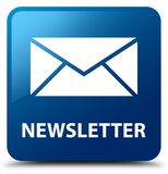 Newsletter blue square button. Newsletter isolated on blue square button abstract illustration Royalty Free Stock Images