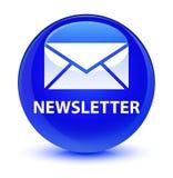 Newsletter glassy blue round button. Newsletter isolated on glassy blue round button abstract illustration Stock Image