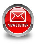 Newsletter glossy red round button Stock Image