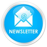 Newsletter premium cyan blue round button. Newsletter isolated on premium cyan blue round button abstract illustration Stock Image