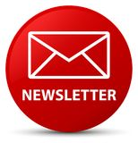 Newsletter red round button Stock Photography