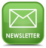 Newsletter special soft green square button Stock Images