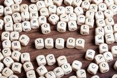 Newsletter, letter dices word. Me Too hashtag from cube letters, anti sexual harrassment social media campaign Stock Photos