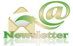 Newsletter. With letter envelope and paper Royalty Free Stock Photography