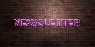 NEWSLETTER - Leuchtstoffneonröhre-Zeichen auf Maurerarbeit - Vorderansicht - 3D übertrug freies Bild der Abgabe auf Lager Lizenzfreies Stockfoto