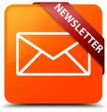 Newsletter orange square button red ribbon in corner Stock Photo