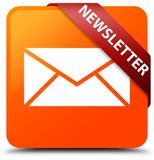 Newsletter orange square button red ribbon in corner. Newsletter isolated on orange square button with red ribbon in corner abstract illustration Royalty Free Stock Images