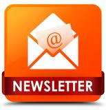 Newsletter orange square button red ribbon in middle Royalty Free Stock Photos