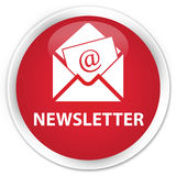 Newsletter premium red round button Stock Images
