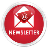 Newsletter premium red round button Stock Photography