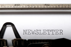 Newsletter. Printed on a typewriter Royalty Free Stock Image
