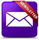 Newsletter purple square button red ribbon in corner Stock Photo