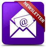 Newsletter purple square button red ribbon in corner Royalty Free Stock Images