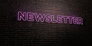 NEWSLETTER -Realistic Neon Sign on Brick Wall background - 3D rendered royalty free stock image Stock Photo