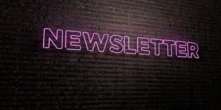 NEWSLETTER - realistische Leuchtreklame auf Backsteinmauerhintergrund - 3D übertrug freies Archivbild der Abgabe Stockfoto
