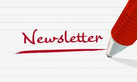 The newsletter in red. Image for illustration or announcement of a newsletter. stock illustration