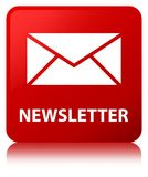 Newsletter red square button Royalty Free Stock Photography
