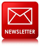 Newsletter red square button Royalty Free Stock Images
