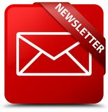Newsletter red square button red ribbon in corner Royalty Free Stock Photography