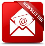 Newsletter red square button red ribbon in corner Stock Images