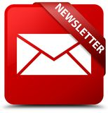 Newsletter red square button red ribbon in corner Royalty Free Stock Images