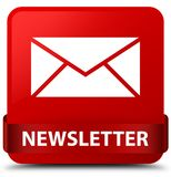 Newsletter red square button red ribbon in middle Royalty Free Stock Images