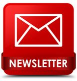 Newsletter red square button red ribbon in middle Royalty Free Stock Photo
