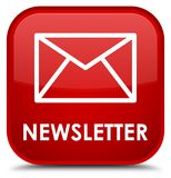 Newsletter special red square button Stock Photos