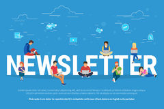 Newsletter subscribers concept illustration of young man and woman receiving commercial letters and promotion offers Royalty Free Stock Image